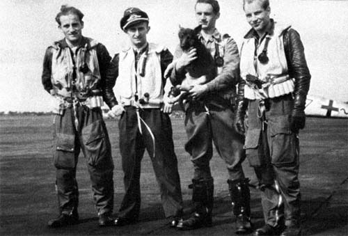 Pilots of  III./JG 54. Fom left: Oblt. Friedrich Brock, Oblt. Rudolf Patzak (15 victories, KIA February 1944),  Lt.Bock and Ofw. Müller