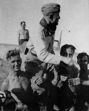 Götz being carried off after a victorious mission