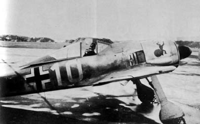 "Fw 190 A-4 ""White 10"" flown by Oberleutnant Wolfgang Kosse, Staffelkapitän of 1./JG 5. Oslo-Fornebu, October 1942."