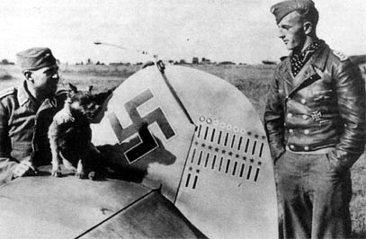 Oberfeldwebel Litjens (right) beside the rudder of his Bf 109 F-4 (W.Nr. 7173) White 5, at Lyuban on 11 September 1941