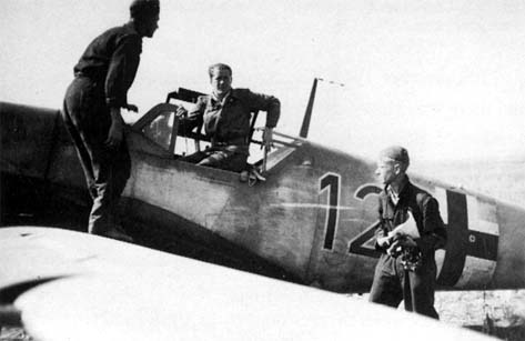 Leutnant Walter Zellot after returning from a sortie in his Black 12